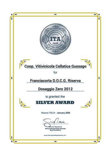 ITA2020 SilverAward Riserva DosaggioZero